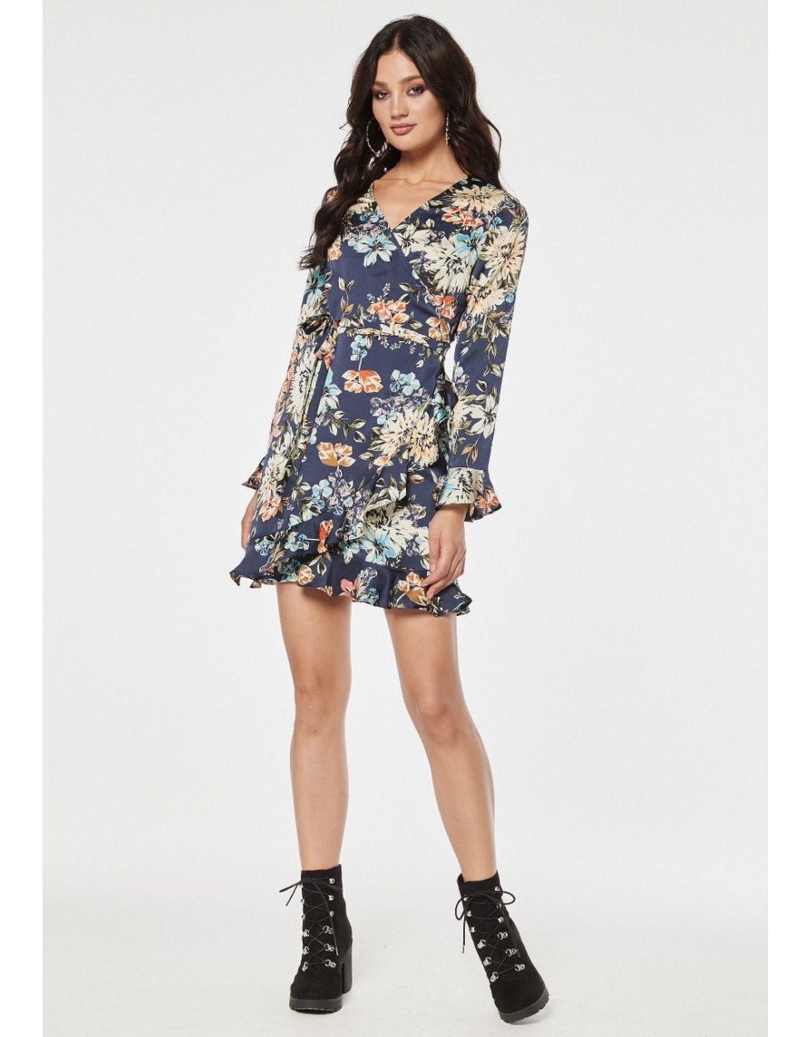 Rut & Circle Jennie Wrap Dress Blue Flower