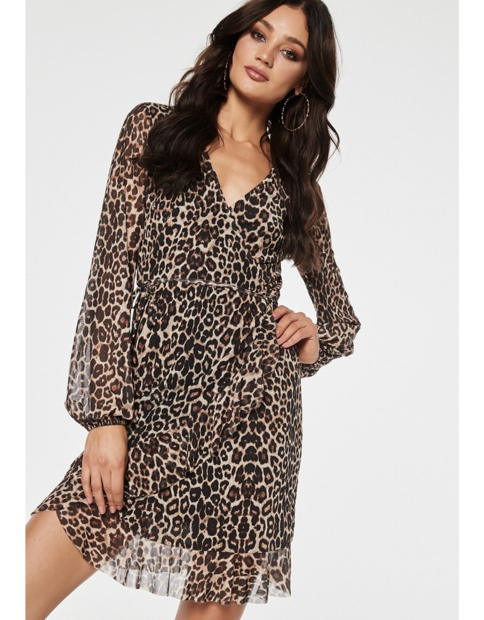 Rut & Circle Mila Mesh Wrap Dress Leopard - Leo Print