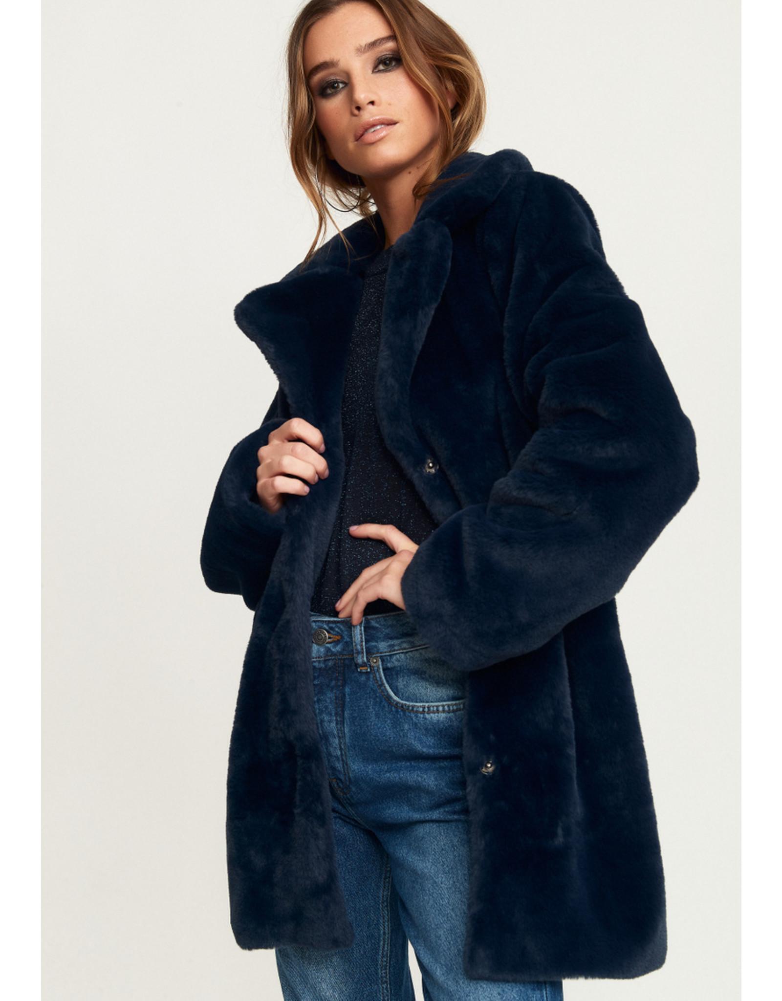 Rut & Circle Nova Faux Fur Jacket Midnight Navy