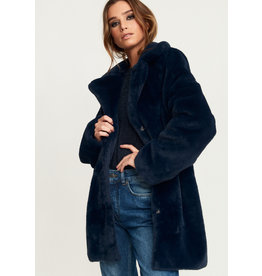 Rut & Circle Nova Faux Fur Jacket Midnight Navy