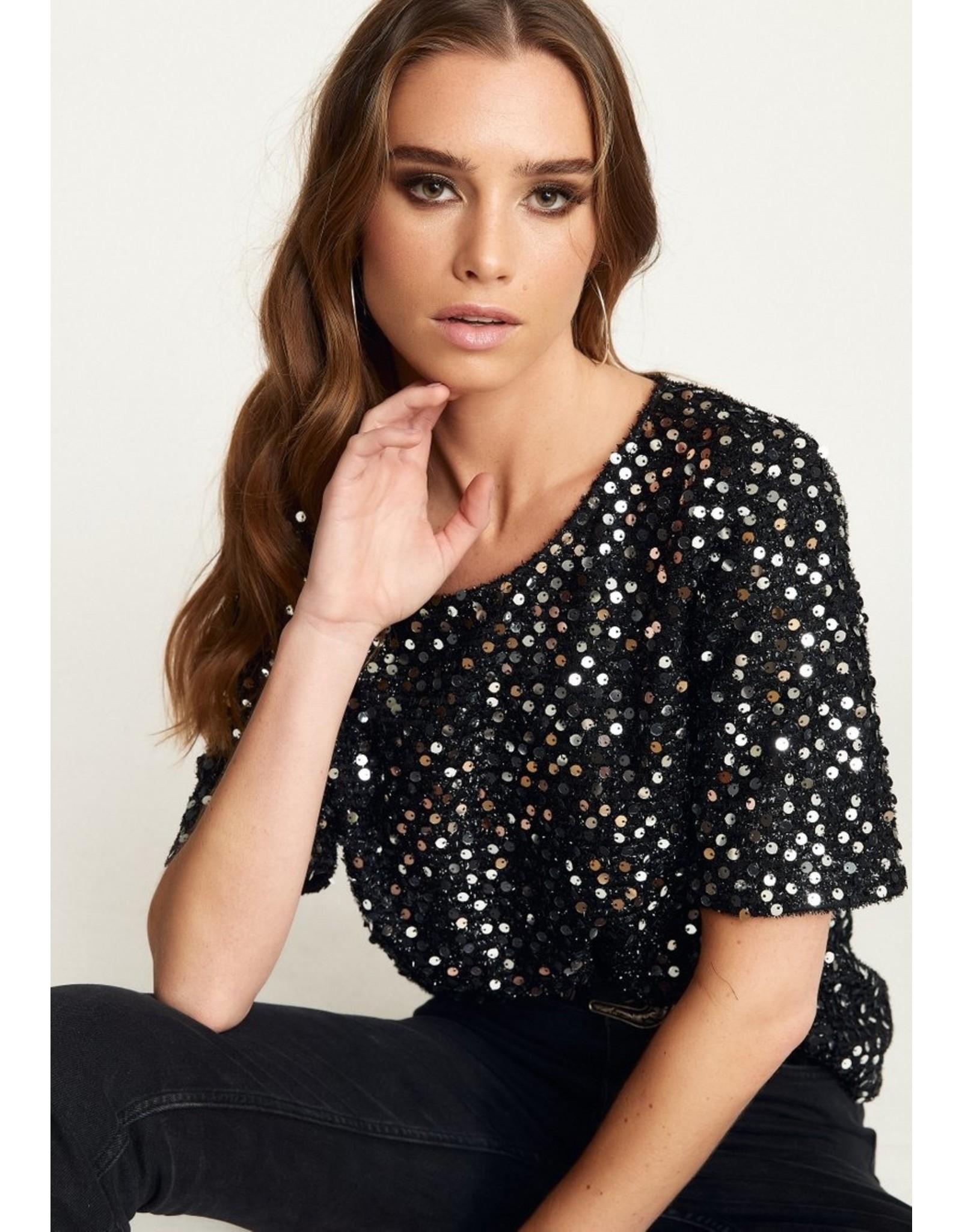 Vanessa Top Black/Silver Sequins