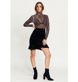 Rut & Circle Vera Velvet Skirt Black