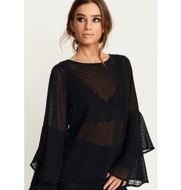 Rut & Circle Felicia Frill Sleeve Top Black
