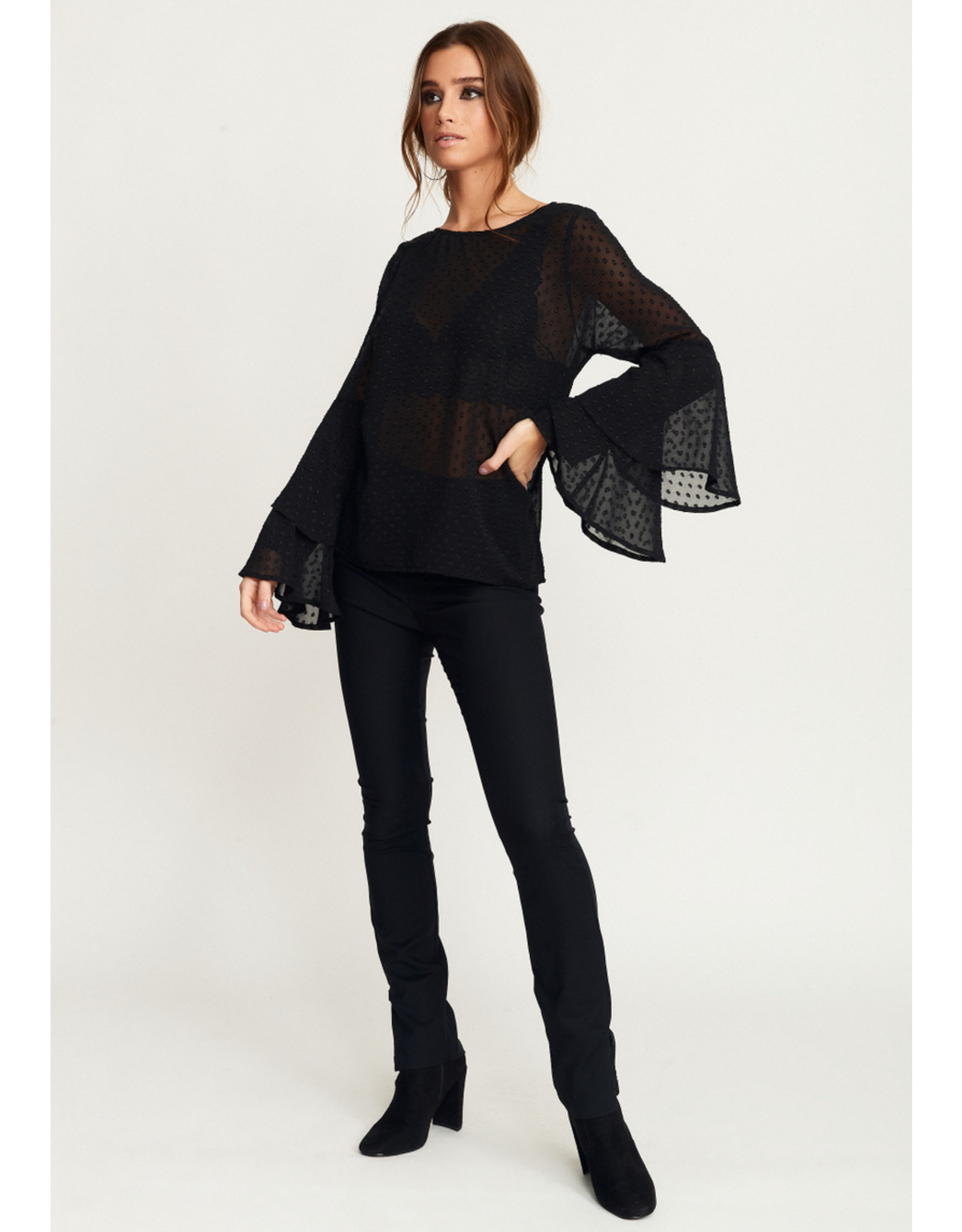 Rut & Circle Felicia Frill Sleeve Top Black