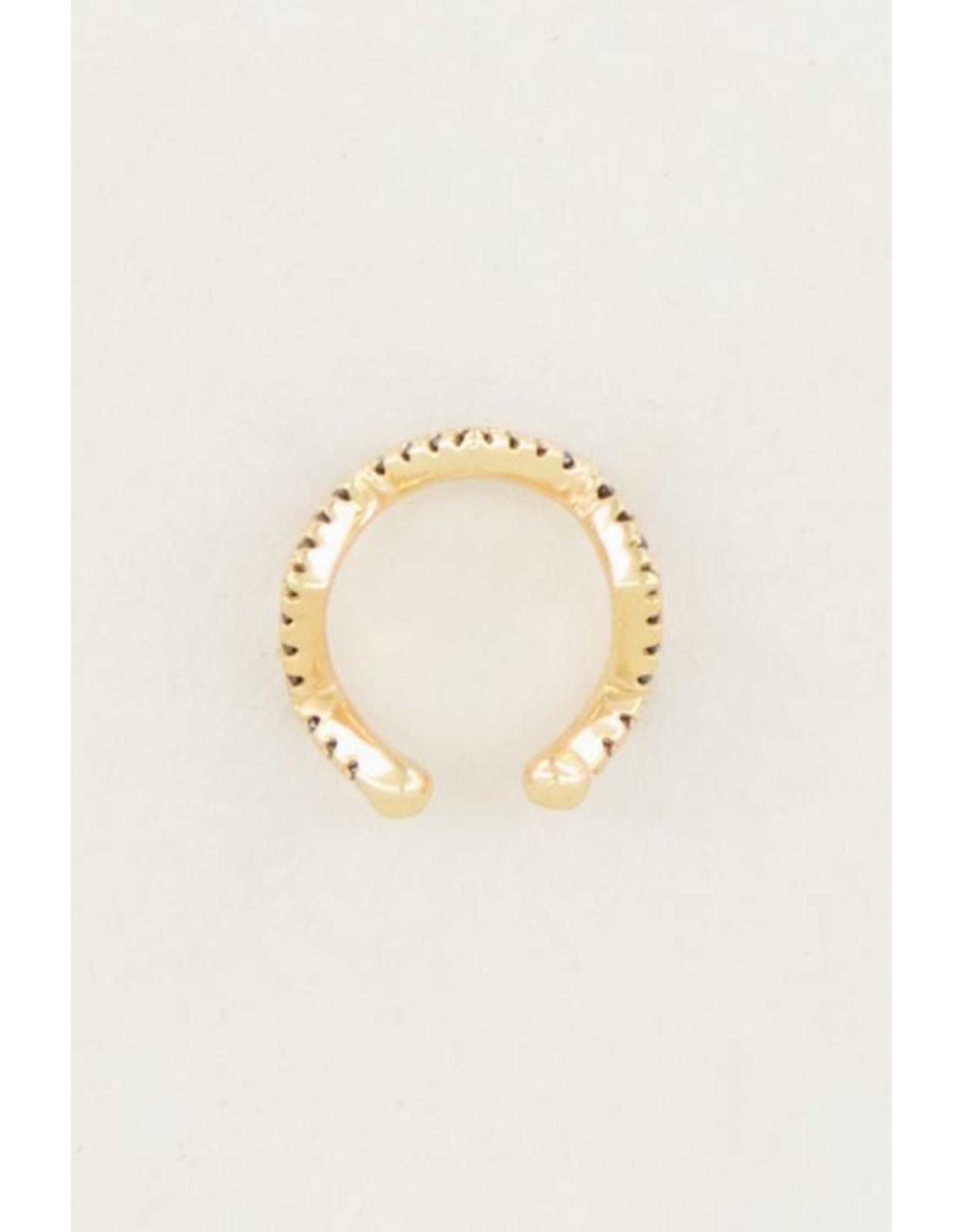 My Jewellery Ear cuff zigzag zwart strass