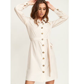 Rut & Circle Andrea Button Dress Light Beige