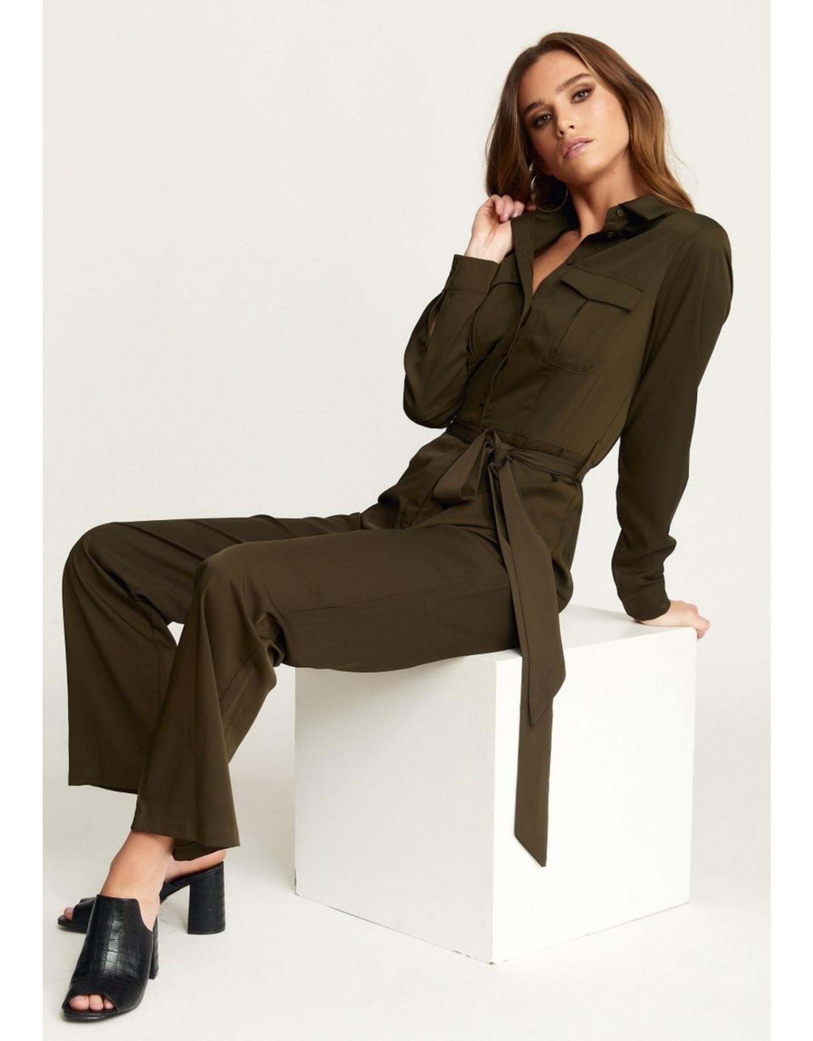 Rut & Circle Alice Workwear Jumpsuit Khaki Green