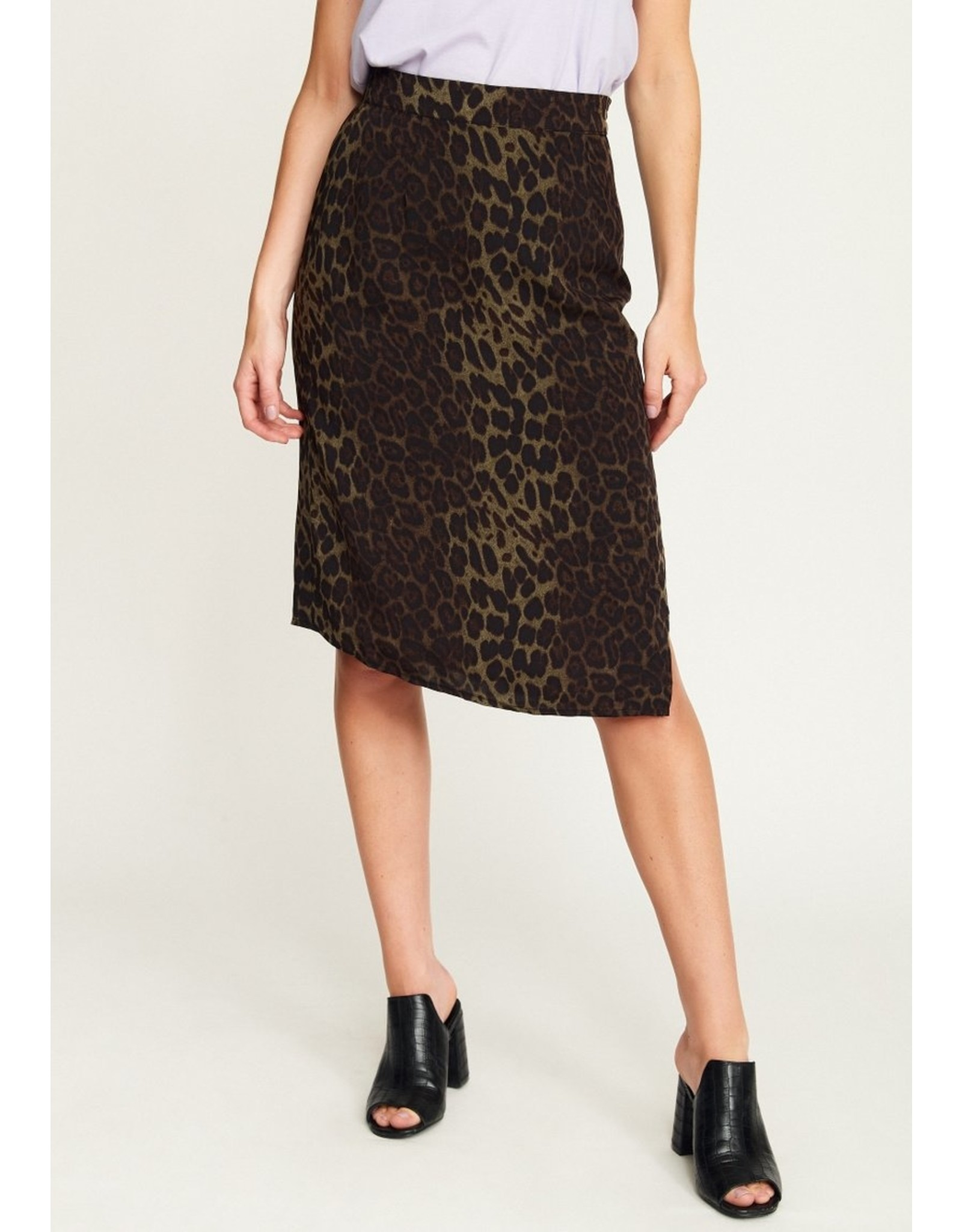 Rut & Circle Leo Split Skirt Green Leo