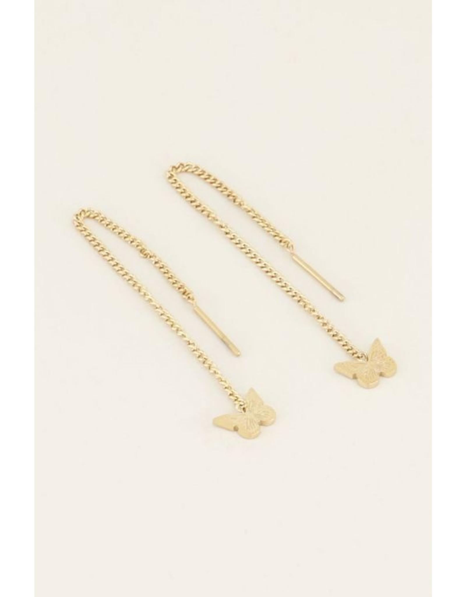 My Jewellery Oorhangers Vlinder Goud 136094