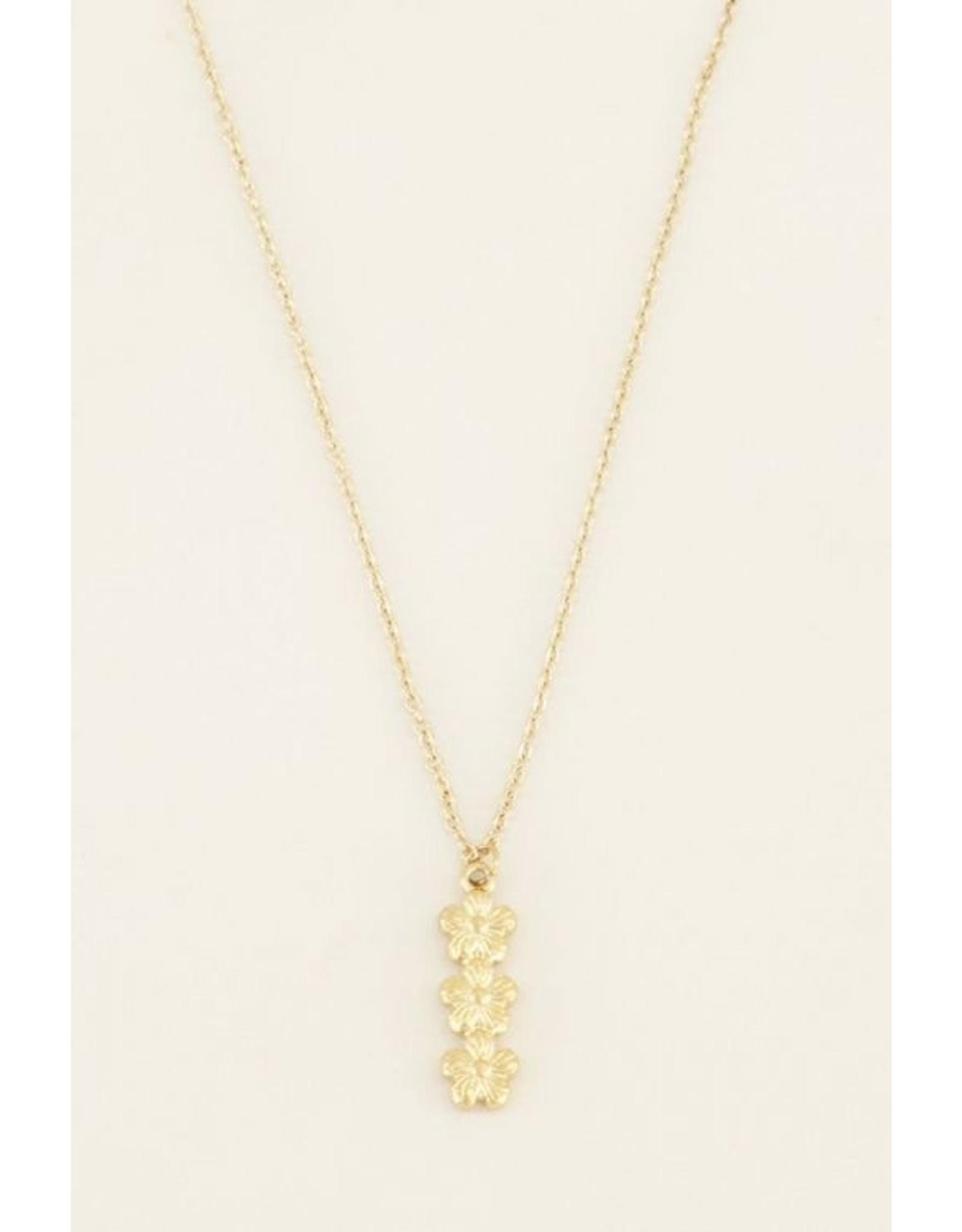 My Jewellery Ketting drie bloemetjes goud  135011