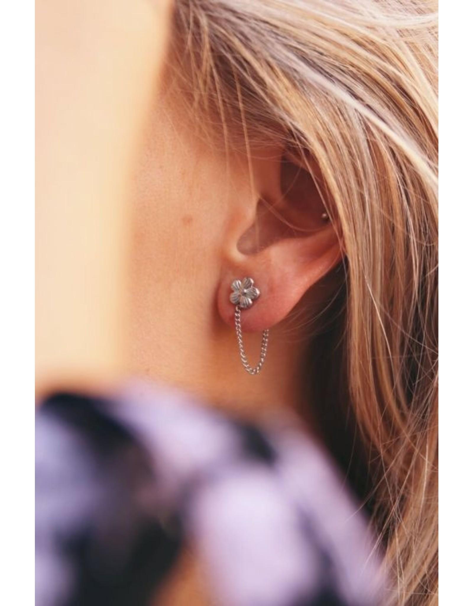 My Jewellery Oorhangers violet & kettinkje goud  136056