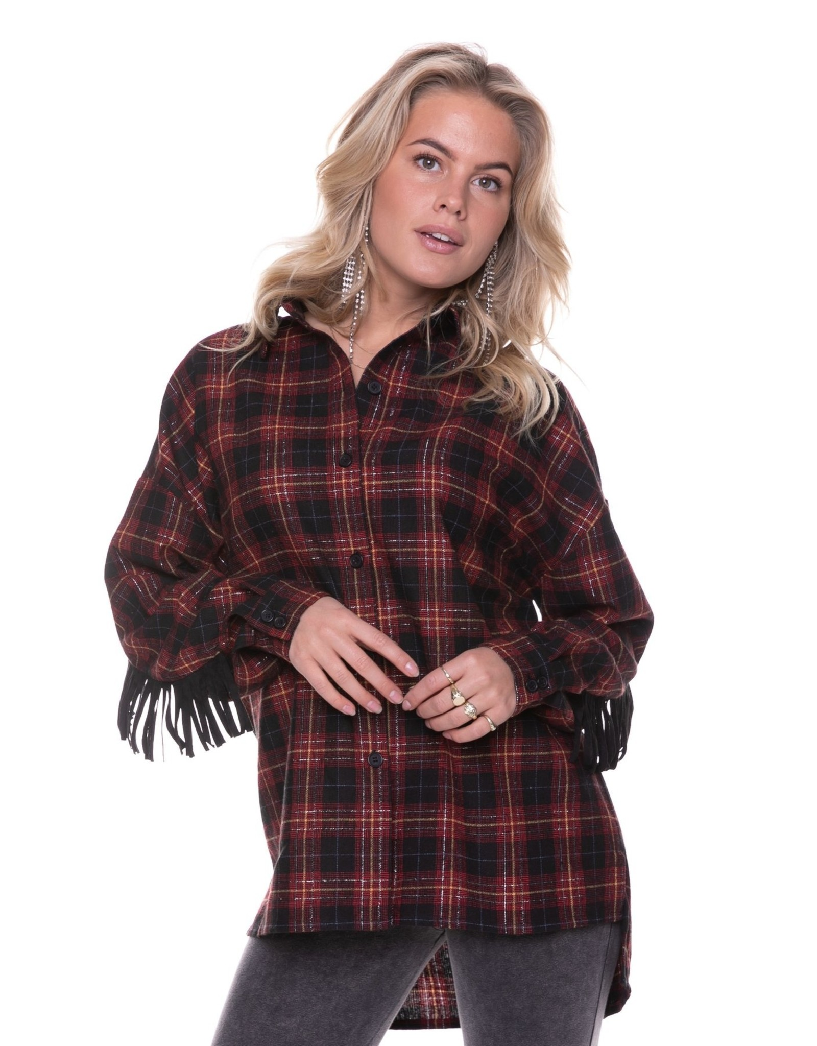 Colourful Rebel Moon Small Check Blouse Black