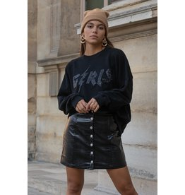 Colourful Rebel Girls Rhinestones Dropped Shoulder Sweater Black