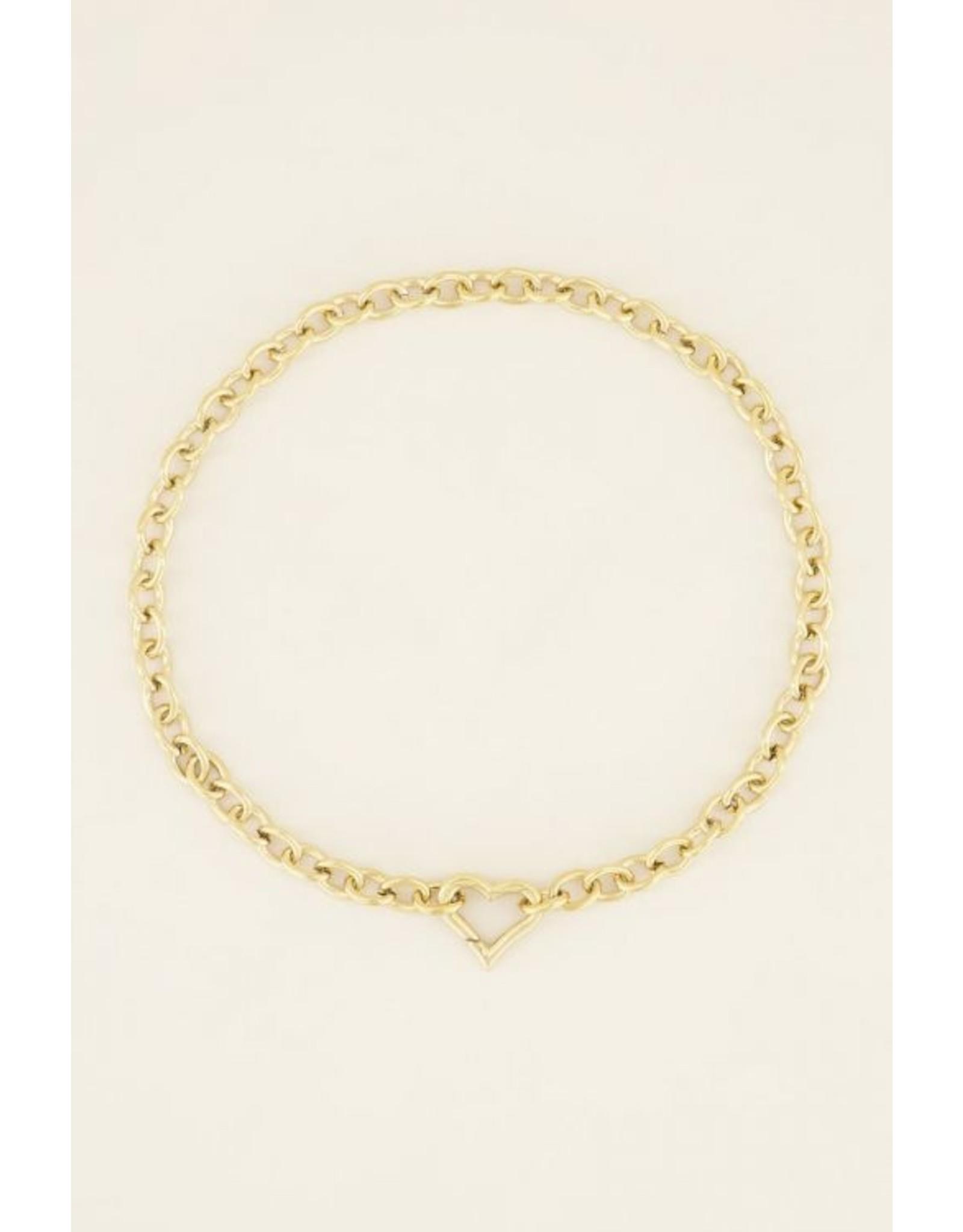 My Jewellery Schakelketting met hartjes sluiting Goud 147489
