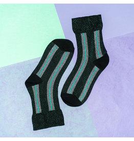 Pinned by k Glitter Socks Green mint silver striped
