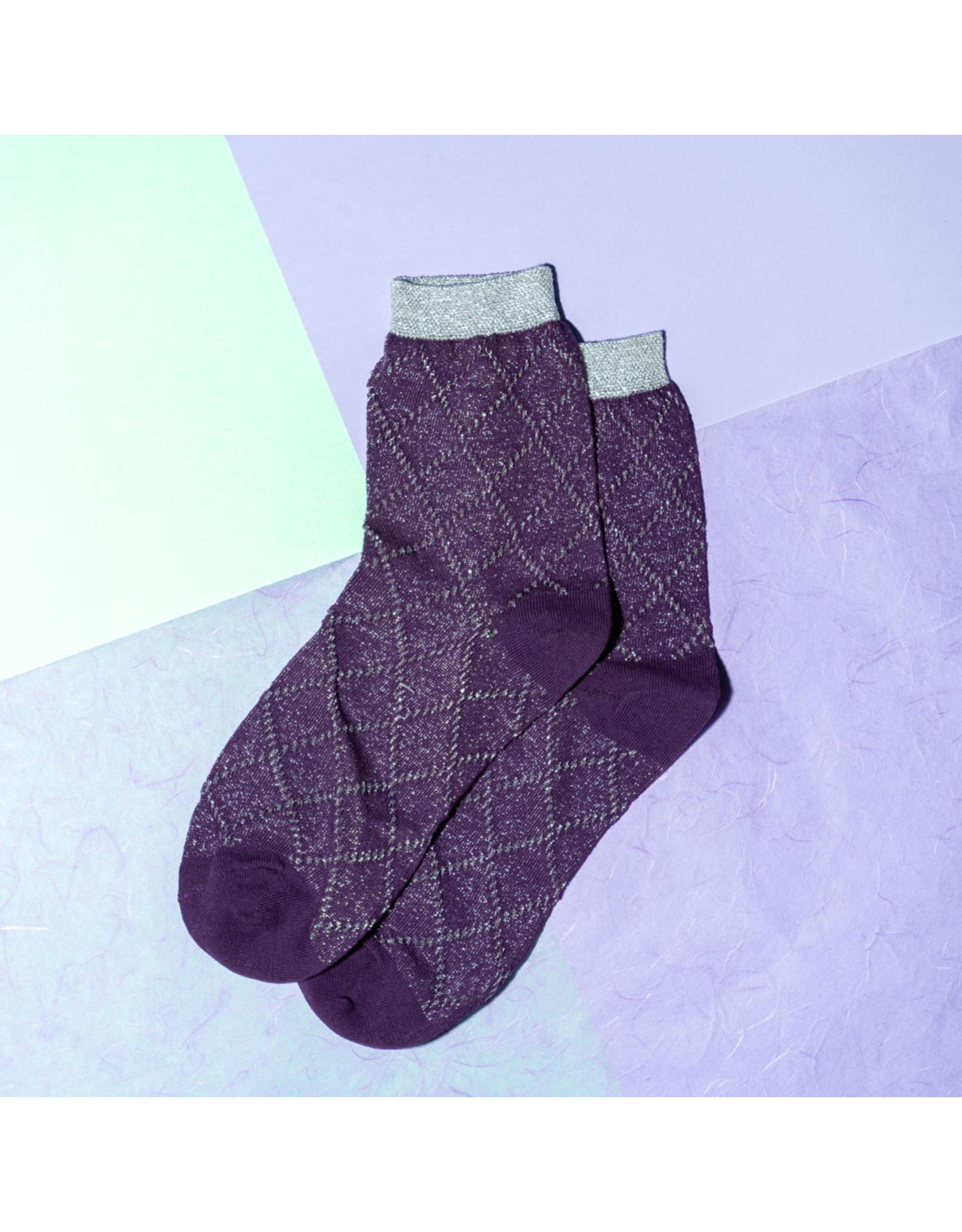 Pinned by k Glitter socks purple black striped