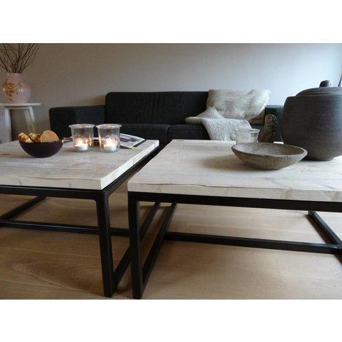 PURE Wood Design 'Varberg' industriële salontafel steigerhout/staal open