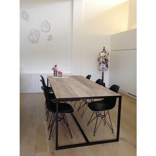 PURE Wood Design 'Hedensted' industriële tafel steigerhout/ ingelegd blad en stalen frame