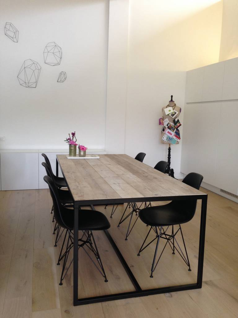 Stalen Design Tafel.Pure Wood Design Industriele Tafel Steigerhoute Met Ingelegd Blad En
