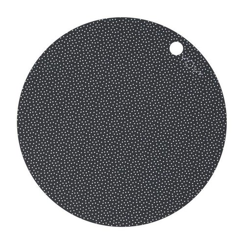 OYOY Placemats Donker grijs - dot print - 110081