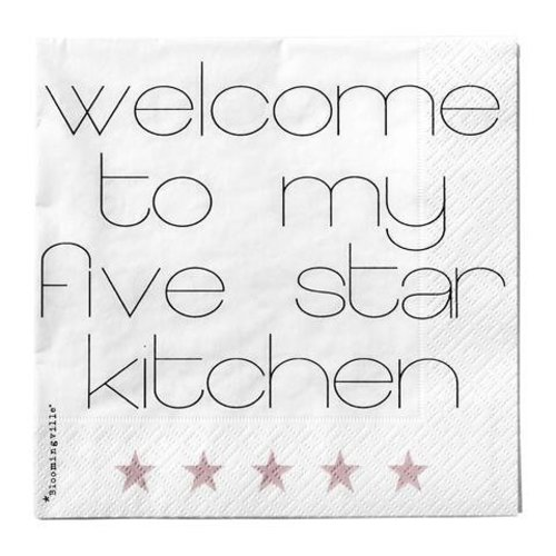 "Bloomingville Servetten ""Welcome to my five start kitchen"""