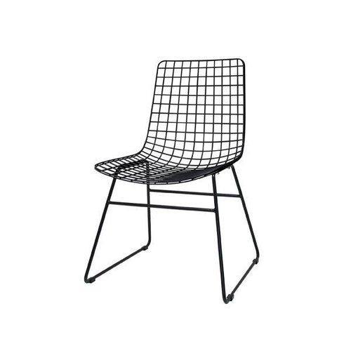 HK Living Metalen draadstoel zonder armleuning - zwart
