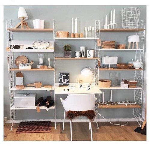 String Furniture: wandrekken & modulair kastensysteem | Nordic Living Wandmeubel met werkplek