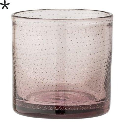 Bloomingville Waxinelichthouder puntjes roze glas