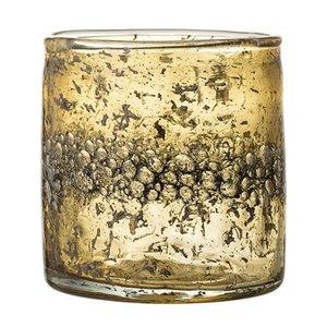 Bloomingville Glazen waxinelicht houder bruin