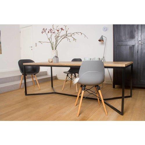 PURE Wood Design 'Farstad' industriele tafel steigerhout/stalen frame kruis