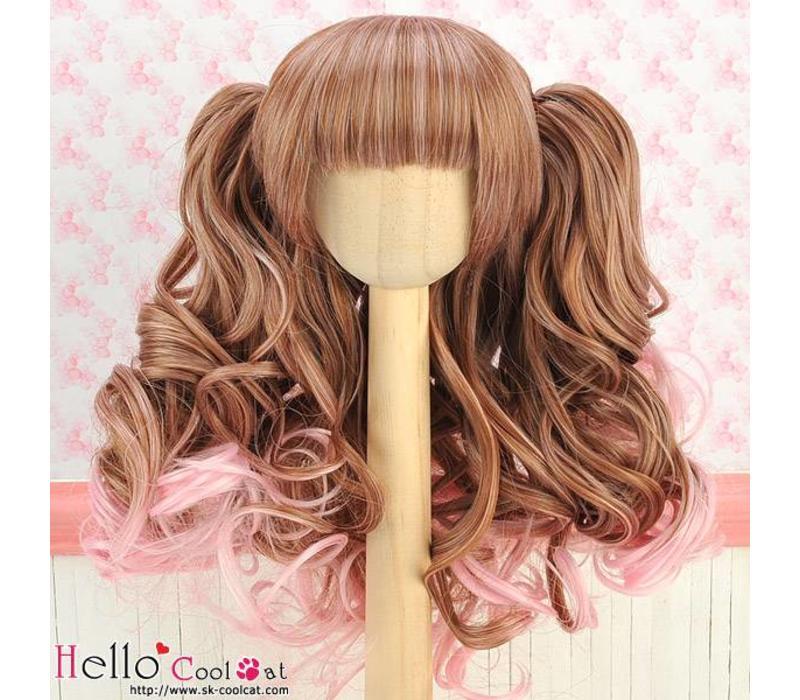 Wig Wavy Brown & Pink