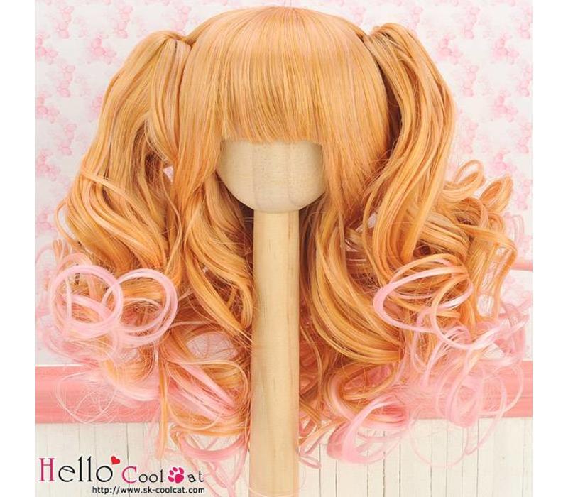 Wig Wavy Yellowish & Brown & Pink