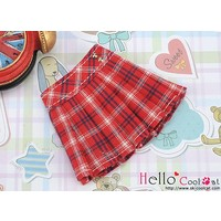 Accordion Mini Short Skirt Stripe Red