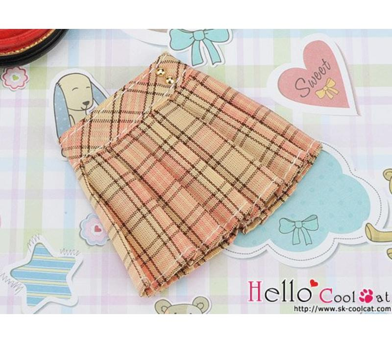 Accordion Mini Short Skirt Stripe Peach