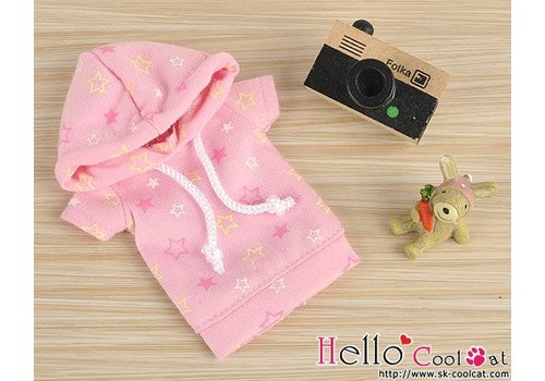 Coolcat Hoodie Top Short Sleeves Star Pink