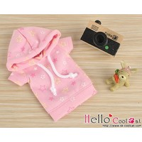 Hoodie Top Short Sleeves Star Pink