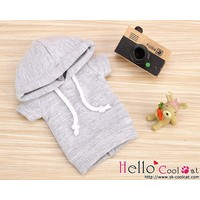 Hoodie Top Short Sleeves Grey