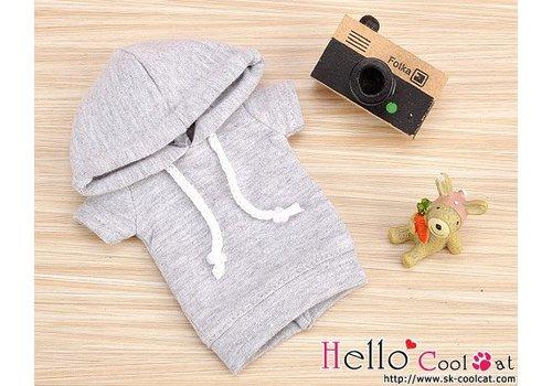 Coolcat Hoodie Top Short Sleeves Grey