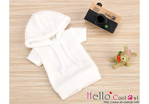 Coolcat Hoodie Top Short Sleeves White