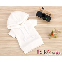 Hoodie Top Short Sleeves White