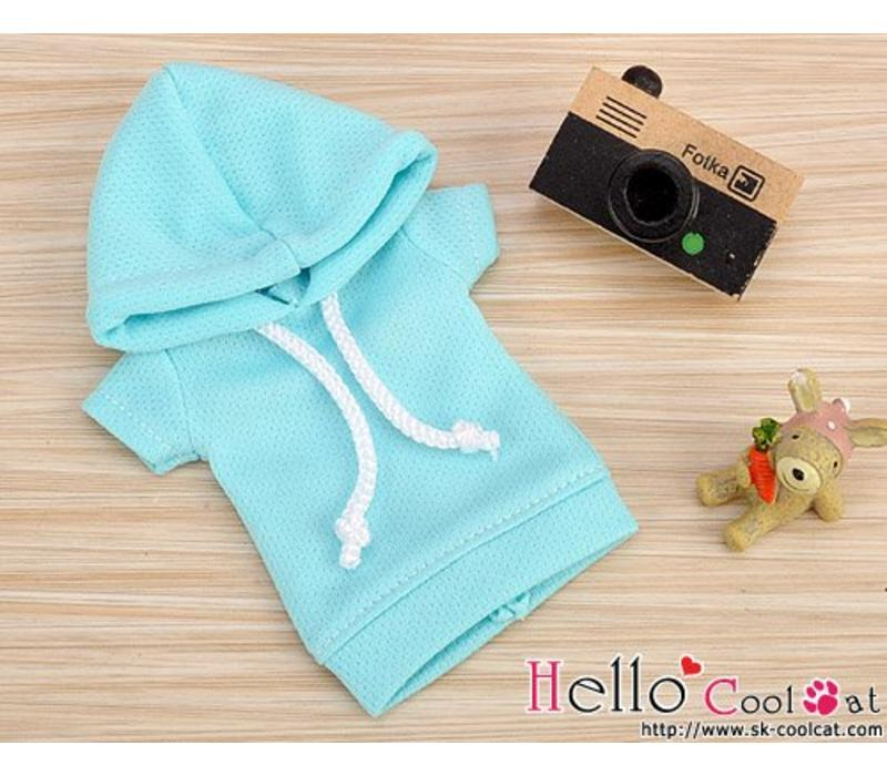 Hoodie Top Short Sleeves Aqua