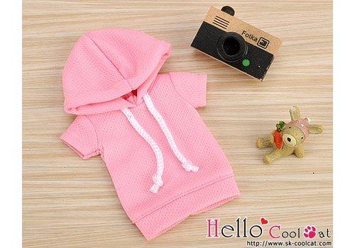 Coolcat Hoodie Top Short Sleeves Pink