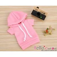 Hoodie Top Short Sleeves Pink