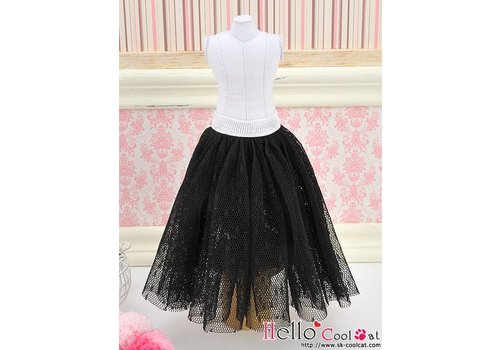 Coolcat Long Tulle Ball Skirt Black (Dot)