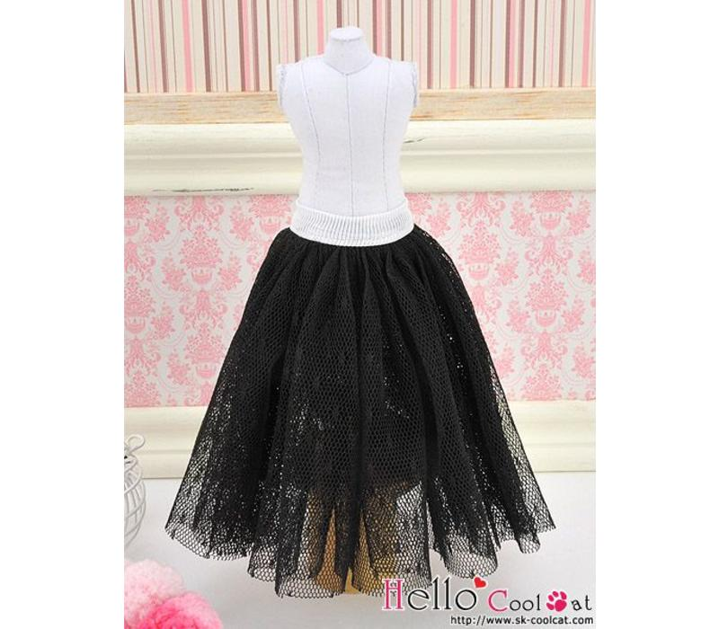 Long Tulle Ball Skirt Black (Dot)