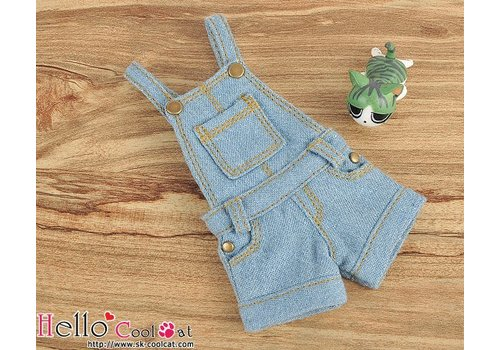 Coolcat Denim Overalls Shorts Faded Blue