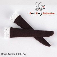 Knee Lace Top Socks Black