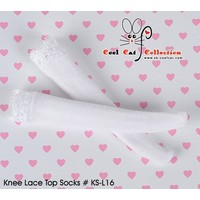 Knee Lace Top Socks White