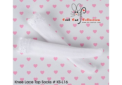Coolcat Knee Lace Top Socks White