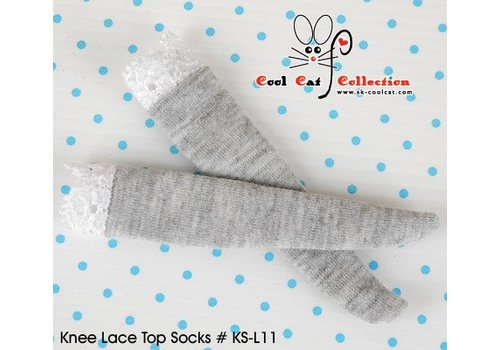 Coolcat Knee Lace Top Socks Pale Grey